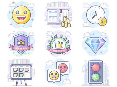 Latest Scenarium icons luxury traffic lights emoji scrum bookkeeping jewel illustration scenarium icon vector icojam icons