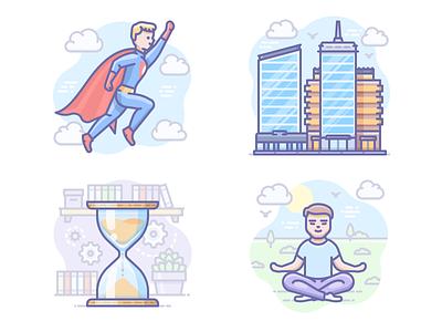 Latest Scenarium icons meditation hourglass hero superhero city illustration scenarium vector icojam icons