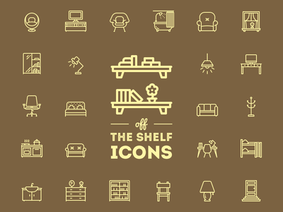 Off the shelf unigrid icons icojam vector interior furniture chair table desk bath couch cabinet