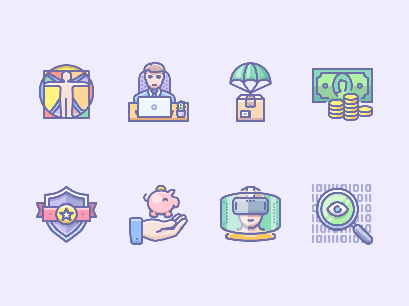 Random icons delivery vitruvian vr money phantom illustration vector icons icojam unigrid