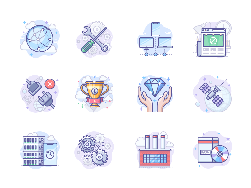 Scenarium icons vol.8 server factory winner adblock settings network scenarium icojam vector illustration icons