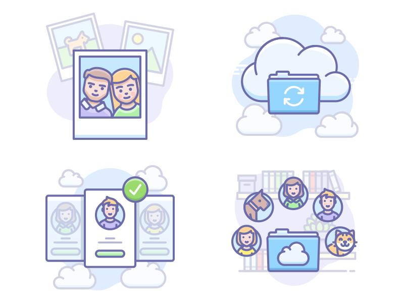 Scenarium update account sync data folder work team cloud illustration icojam vector icons scenarium