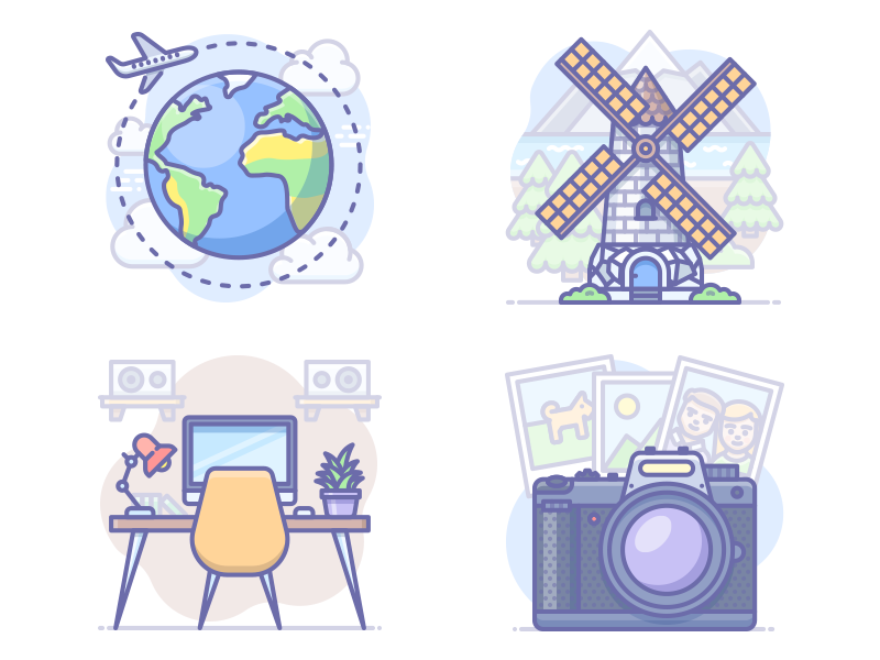 More Scenarium icons photo workplace flight travel windmill icojam vector illustration icons scenarium