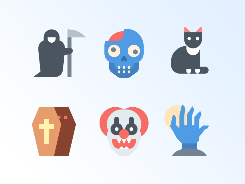 41 Halloween free icons head hand coffin grim ripper cat death zombie horror halloween