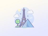 Paris, Eiffel tower, Louvre