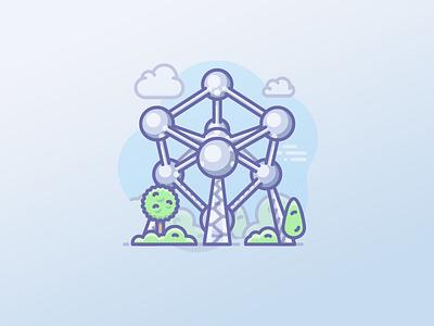 Brussels, Atomium icon scnenarium icojam molecule landmark atoimium belgium brussels