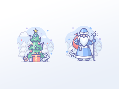 New year tree and Father Frost