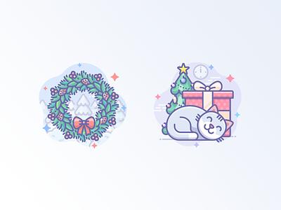 Christmas wreath icon icojam scenarium xmas x-mas gift tree new year present wreath christmas cat