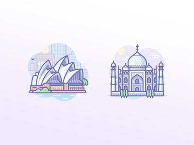 Australia Sydney Opera House, India Taj Mahal