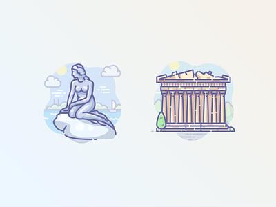 Mermaid in Denmark and Acropolis in Athens icons icojam scenarium little athens ancient greece ancient temple acropolis mermaid copenhagen denmark