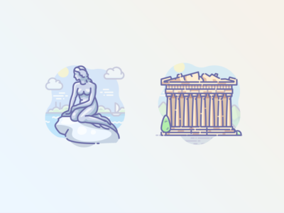 Mermaid in Denmark and Acropolis in Athens