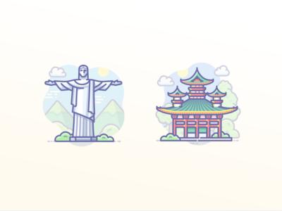Jesus in Brazil and Heian Shrine in Japan