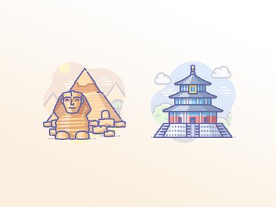 Egyptian pyramids and Temple of Heaven in China cat sphynx icons scenarium icojam khafre giza beijing china heaven temple mausoleum pyramids egypt