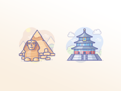 Egyptian pyramids and Temple of Heaven in China cat sphynx icons scenarium icojam khafre giza beijing china heaven temple mausoleum pyramids egypt