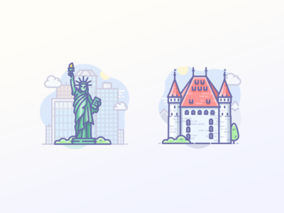 Statue of Liberty, USA & Thun castle in Switzerland