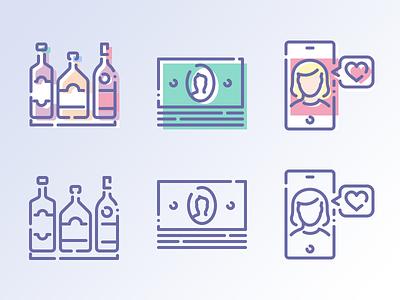 Unilite & Unilite Shift girl alcohol beverages love date money vector outline icons icojam unilite