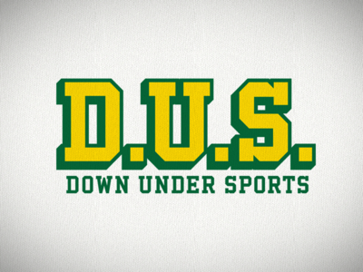 Down Under Sports logotype shadow font block athletic podcast sports down under australia