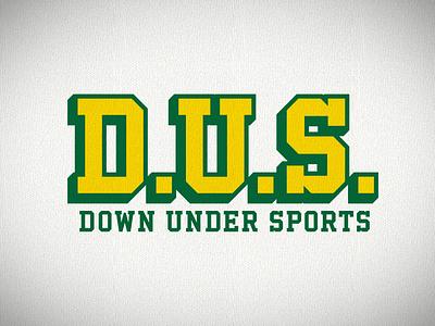 Down Under Sports logotype shadow font block athletic podcast sports down under australia