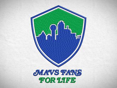Mavs Fans For Life logotype embroidery shield skyline mavs nba mavericks dallas