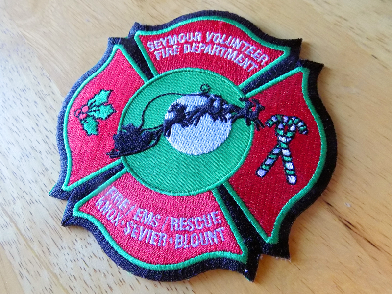 SVFD Santa Patch sleigh embroidery patch holly santa claus fire department