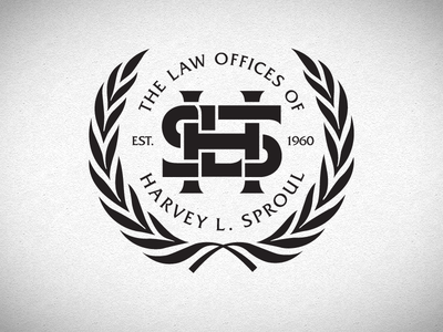 Law Offices of Harvey L. Sproul wreath law monogram lockup office lawyer