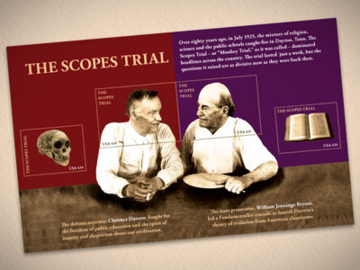 Scopes Trial Stamps Sheet stamp darrow tennessee evolution monkey trial scopes