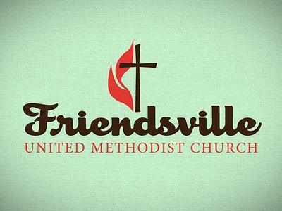 Friendsville United Methodist Church script logotype jesus flame cross church methodist umc fumc