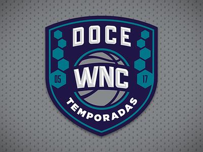 Doce Temporadas logotype years wnc basketball twelve anniversary