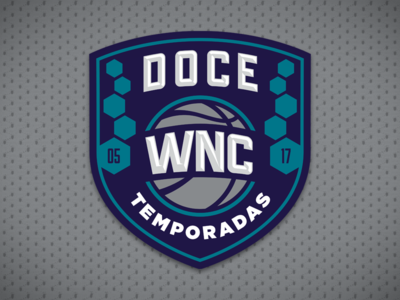 Doce Temporadas logotype years wnc basketball twelve anniversary