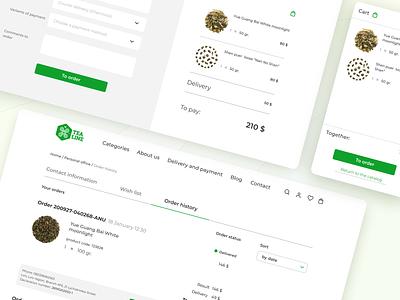 "E-commerce ""TeaLine"" desktop version 🍀 tea shop figma web design green tea online store"