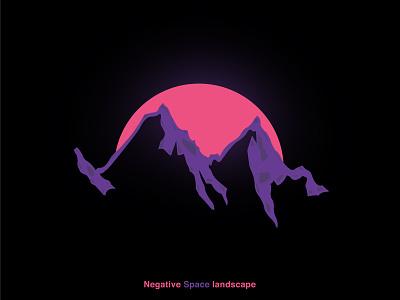 Negative Space Landscape flat illustrator logo branding web vector illustration design