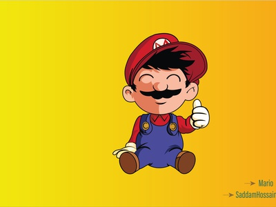 Mario art website flat graphic design illustrator branding web vector illustration design