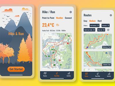 Location Tracker / Trail Running UI ux vector illustration figma dailyui design branding logo graphic design ui