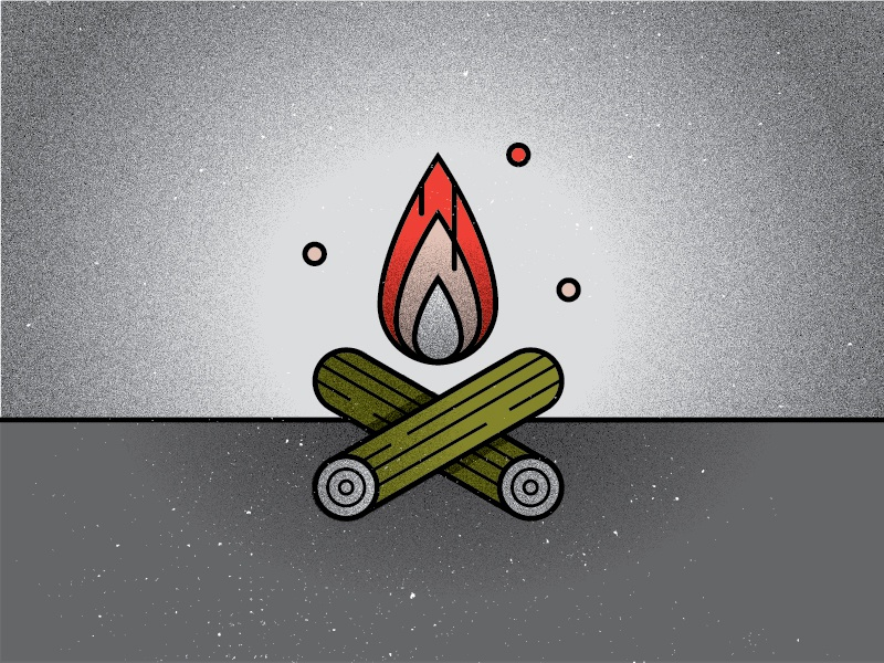 F is for fire. illustration camping campfire fire