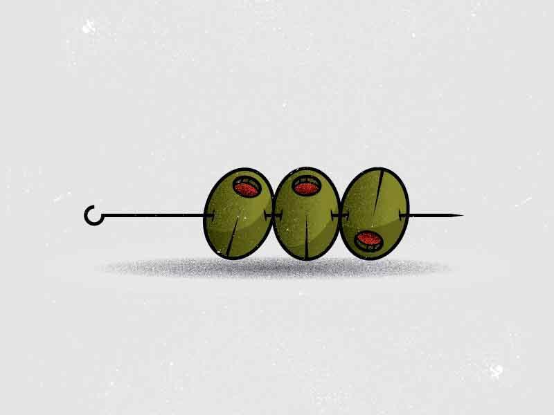 O is for olives. cocktail food garnish martini olive