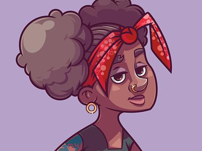 R&B girl 2d character illustration artist mascot design vector illustration vector illustraion digitalart characterdesign character