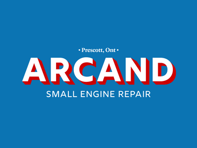 Arcand Small Engine Repair Logo logotype extruded letters repair typogaphy branding and identity logo branding