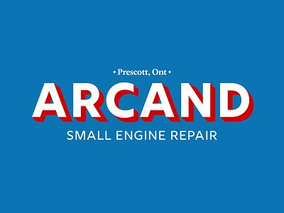Arcand Small Engine Repair Logo logotype extruded letters repair typogaphy branding and identity logo branding