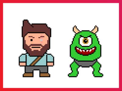 Hack Day - Pixel Sprites characters games hero monster pixel
