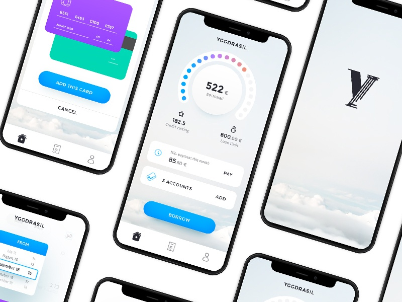 p2p borrow app interface and logo by Oles Kryzhanivskyi on