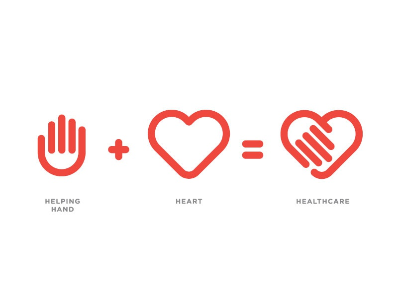 Excel Healthcare Process branding identity logo heart hand healthcare