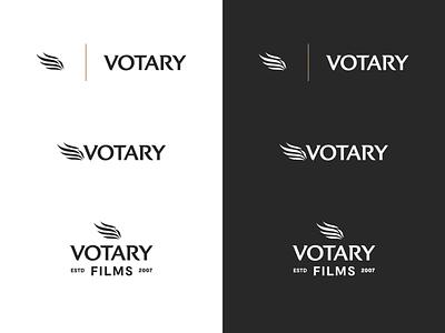 Votary Films Logo System film symbol wing flame wordmark logo branding