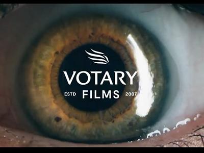 Votary Films Logotype Lockup film symbol lockup logo