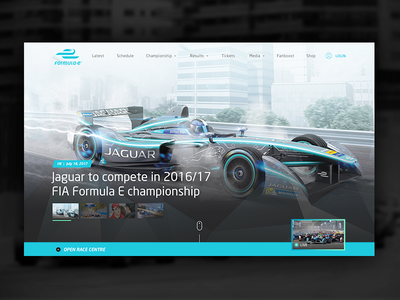 Formula E Redesign Website design visual design landing page homepage concept pitch rebrand redesign racecar responsive website formula e