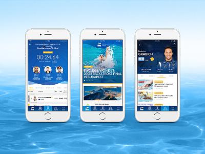 FINA App blue wave water direction art design app swimming fina