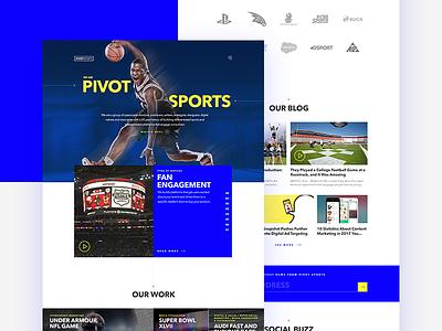 Pivot Sports Website ux ui visual design landing page homepage agency sports