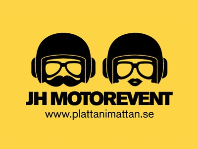 JH Motorevent - Logo, final version logo characters helmet face glasses
