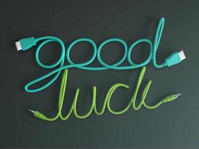Good Luck - WIP 3d type typography illustration logo