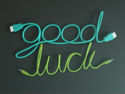 Good Luck - WIP 3d type typography illustration logo