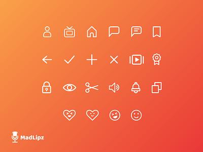 MadLipz App - Iconography design branding icon design icon set orange app application icons iconography
